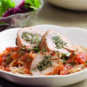 Stuffed Chicken Thighs Braised in Tomato Sauce