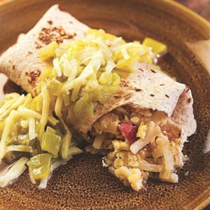Smothered Green Chile Breakfast Burritos