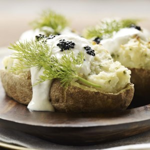 Twice-Baked Potatoes with Horseradish & Caviar