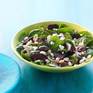 Spinach Salad with Beets, Beans & Feta