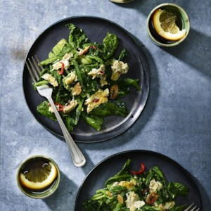 Stir-Fried Mustard Greens with Eggs & Garlic