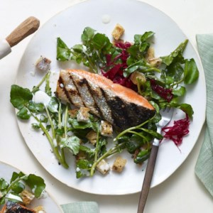 Grilled Salmon with Watercress Salad & Buttermilk Dressing