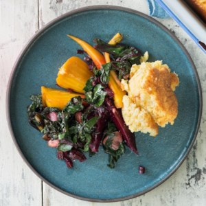 Southern Beets & Greens with Chevre Spoonbread