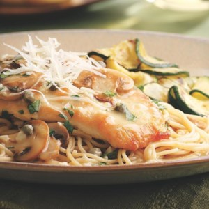 Chicken Piccata with Pasta & Mushrooms