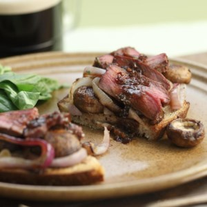 Guinness-Marinated Bison Steak Sandwiches