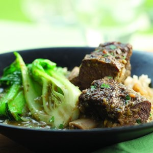 Red Curry Bison Short Ribs with Baby Bok Choy