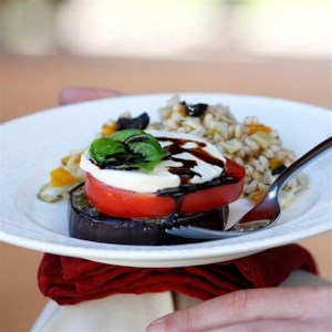 Grilled Eggplant & Tomato Stacks