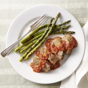 Roasted Pork Tenderloin with Rhubarb BBQ Sauce