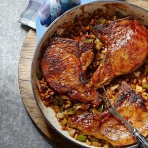 Bourbon-Glazed Pork Chops with Hoppin' John