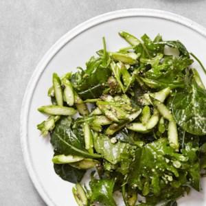 Asparagus & Baby Kale Caesar Salad