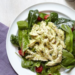Creamy Pesto Chicken Salad with Greens