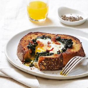 Egg-in-a-Hole with Spinach & Bacon
