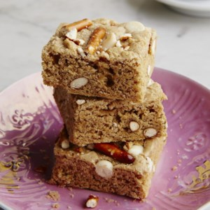 Pretzel & White Chocolate Whole-Grain Blondies