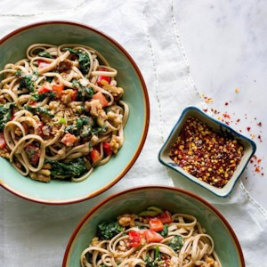 Dan Dan Noodles with Spinach & Walnuts