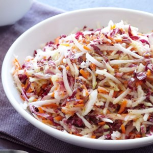 Cider & Honey Kohlrabi Slaw with Radicchio