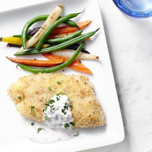 Parmesan-Crusted Cod with Tartar Sauce