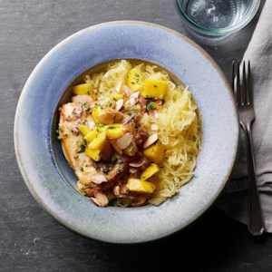 Seared Chicken with Mango Salsa & Spaghetti Squash