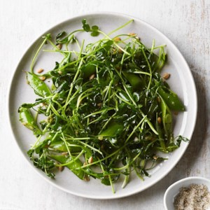 Pea Shoot & Snap Pea Salad with Sunflower Seeds
