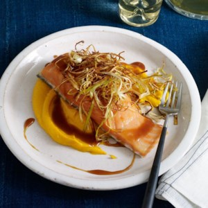 Slow-Roasted Salmon with Soy-Caramel Sauce, Carrot Puree & Crispy Leeks