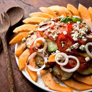 Melon, Tomato & Onion Salad with Goat Cheese