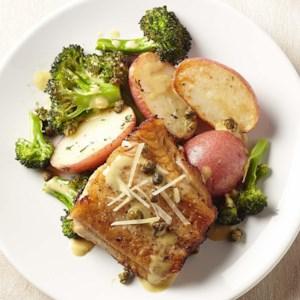 Lemon-Caper Black Cod with Broccoli & Potatoes