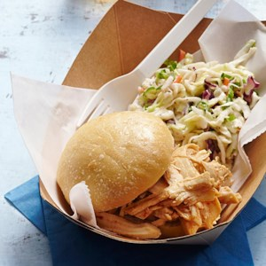 BBQ Pulled Chicken Sandwich with Coleslaw