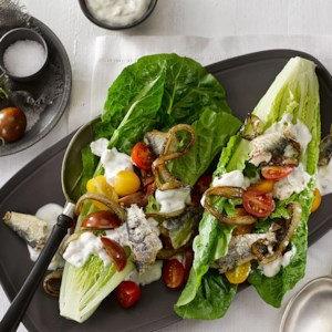 Romaine Wedges with Sardines & Caramelized Onions