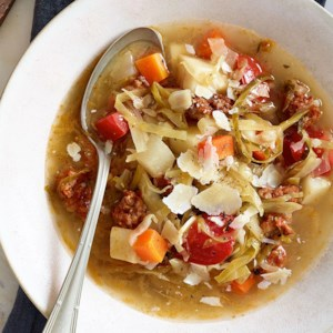 Sausage, Cabbage & Root Vegetable Soup