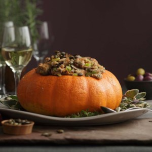 Roasted Stuffed Pumpkin with Spiced Pumpkin Seeds