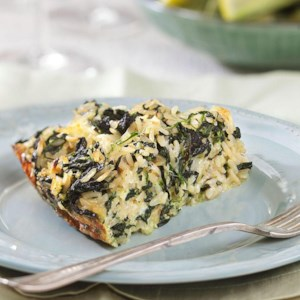 Rice, Cheddar & Spinach Pie