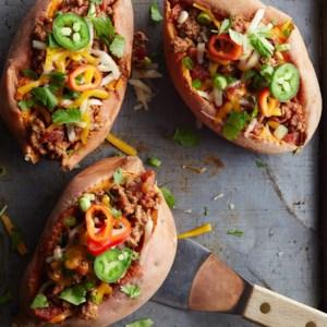 Chili-Topped Sweet Potatoes