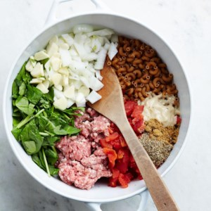 Lamb & Spinach One-Pot Pasta