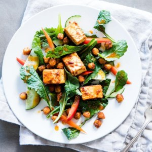 Kale Salad with Spiced Tofu & Chickpeas