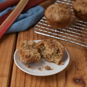 Rhubarb Cardamom Crumble Muffins