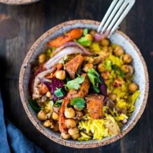 Turmeric Rice Bowl with Garam Masala Root Vegetables & Chickpeas