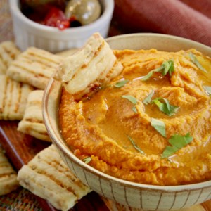 healthy halloween roasted red pepper hummus recipe give the traditional halloween snacks a break