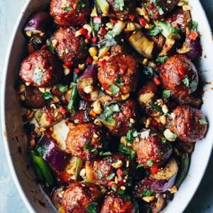 Tamari-Ginger Meatball & Eggplant Casserole