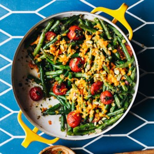 Tomato & Green Bean Casserole with Spicy Herb Pesto