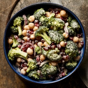 Broccoli, Chickpea & Pomegranate Salad