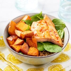 Salmon & Sweet Potato Buddha Bowls