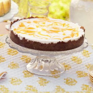 No-Bake Cheesecake with Gingersnap Crust and Mango Puree