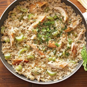 Creamy Basil-Rosemary Chicken and Rice