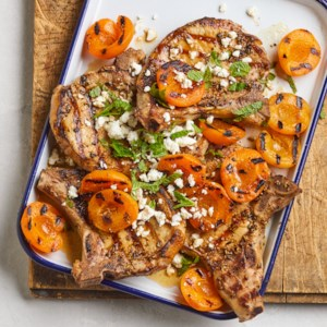 Grilled Fennel-Rubbed Pork Chops & Apricots