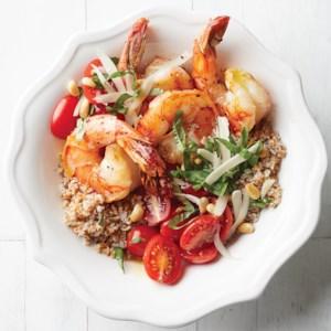 Shrimp, Bulgur, and Tomato Bowls