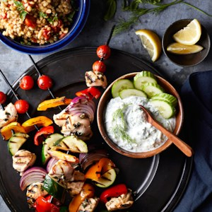 Chicken and Vegetable Souvlaki with Barley Pilaf and Tzatziki