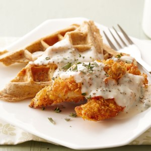 Healthy soul food recipes eatingwell savory waffles with herb gravy and crispy chicken tenders forumfinder Choice Image