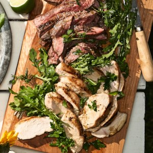 Grilled Lime Chicken & Steak with Herb & Arugula Salad