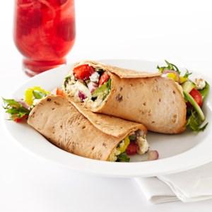 Mediterranean Veggie Wrap with Cilantro Hummus