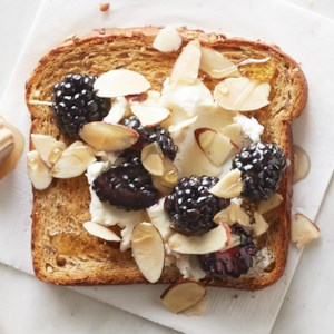 Goat Cheese, Blackberry and Almond Topped Toast