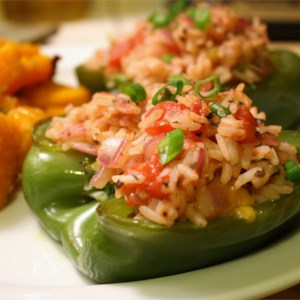 Stuffed Peppers My Way Recipe and Video - Roasted green bell peppers are stuffed with feta cheese and a mixture of rice and green onions.